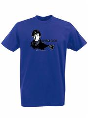 Футболка с принтом кинофильма Шерлок (Sherlock,Бенедикт Камбербэтч) синяя 0017