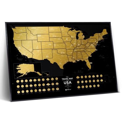 Скретч Карта Travel Map USA Black