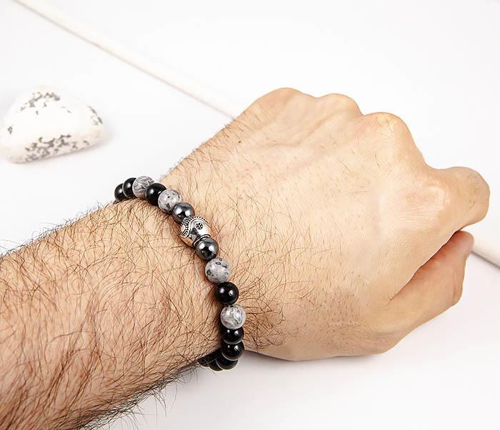 BS902 Мужской браслет ручной работы «Инь и Янь» из обсидиана фото 07