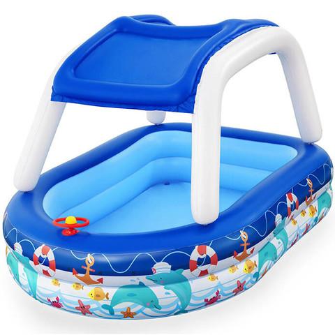 Детский надувной бассейн Bestway 54370 (213x155x132 см) с навесом от солнца / 25321