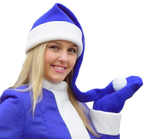 Длинный колпак Санты синий
