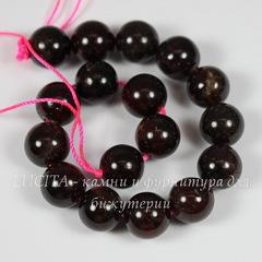 Бусина Гранат, шарик, цвет - бордовый, 10 мм, нить