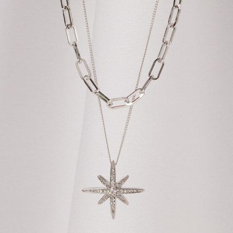 Двухслойное украшение из цепей с подвеской Звезда, Swarovski (серебристый)