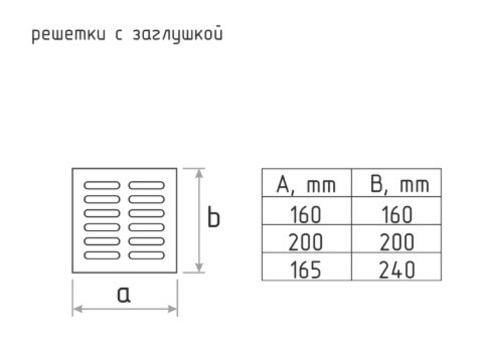 Решетка с заслонкой (заглушкой) 160х160 мм Хром