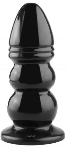 Черная рельефная анальная втулка - 33,5 см.