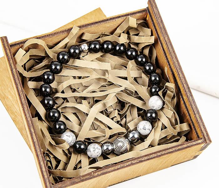 BS902 Мужской браслет ручной работы «Инь и Янь» из обсидиана фото 08