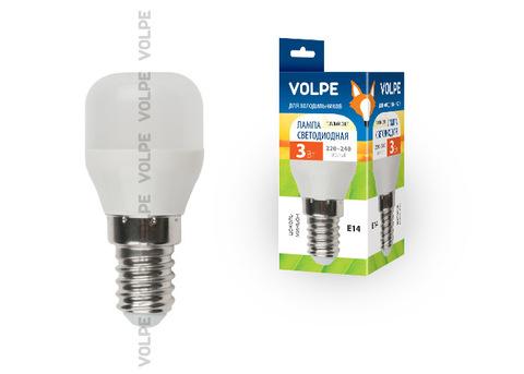 LED-Y27-3W/WW/E14/FR/Z  Лампа светодиодная для холодильников. TM Volpe. Матовая колба. Материал корпуса пластик. Цвет свечения теплый белый. Упаковка картон.