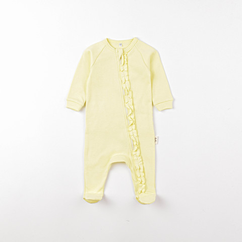 Zip-up sleepsuit with ruffles 0+, Daffodil