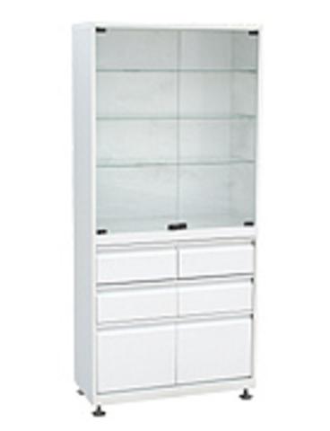 Медицинский шкаф (ШМС-2-Р-4/2) ШМС-2 с рег. опорами с выдвижным ящиком (4/2) - фото