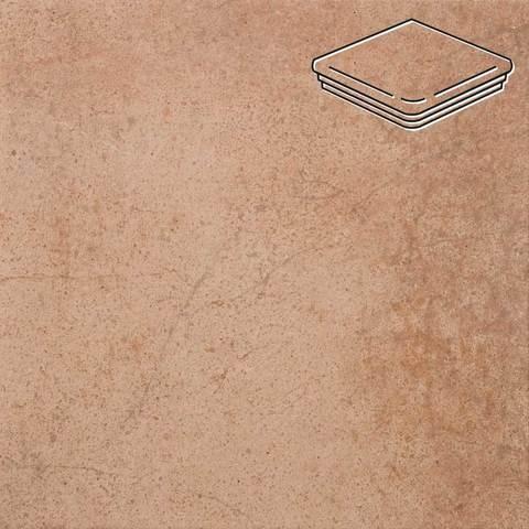 Stroeher - Keraplatte Aera 750 rubeo 345x345x12 артикул 9331 - Угловая клинкерная ступень - флорентинер