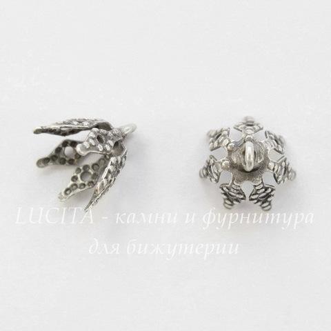 Винтажный декоративный элемент - шапочка с петелькой 9х8 мм (оксид серебра)