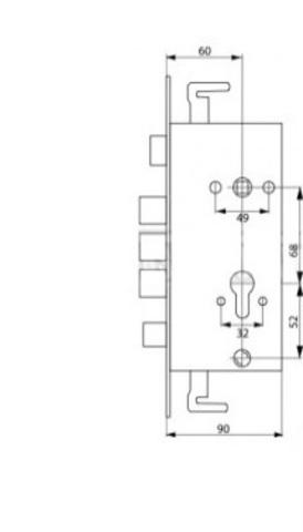 Корпус на китайскую дверь 3024-3P (б/тяг, без задвижки)
