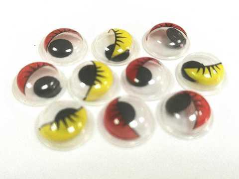 Бегающие глазки красно-желтые,  10мм, пластмассовые. 1уп-10шт. (1239)