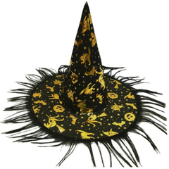 Шляпа ведьмы Черное золото с бахромой, 36см, 1шт.
