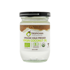Кокосовое масло в стекле, TROPICANA OIL,  Organic Cold Pressed Virgin Coconut Oil ,200мл