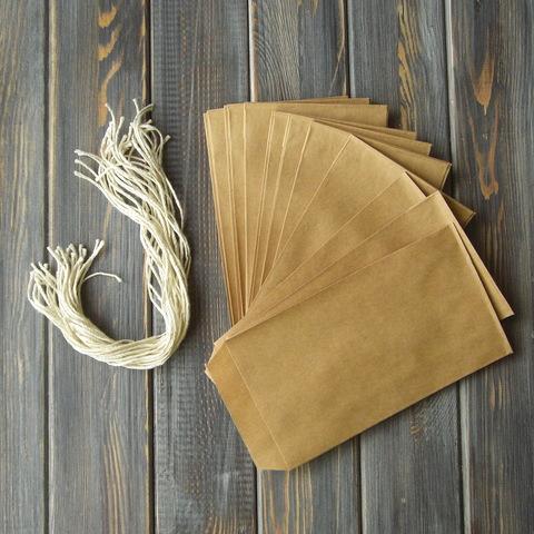 Набор: крафт-конверт + хлопковый шнур (31шт)