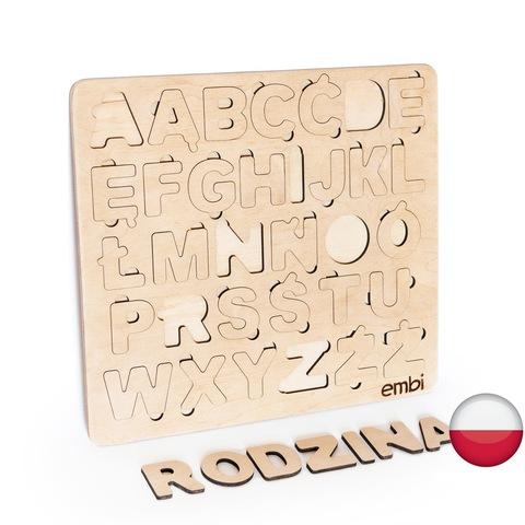 Деревянная азбука польский язык (размер мини)