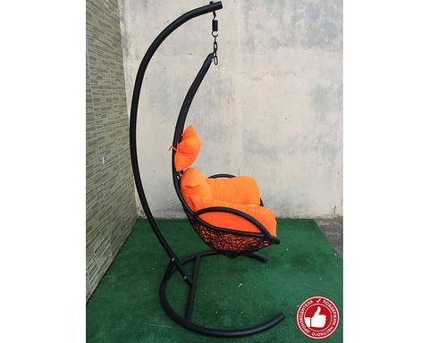 Подвесное кресло из ротанга Грация черное