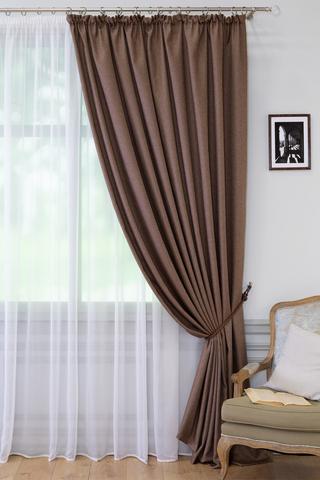 Готовая штора креп Ирен коричневый