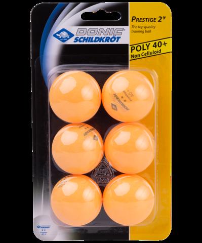 Мяч для настольного тенниса 2* Prestige, оранжевый, 6 шт.