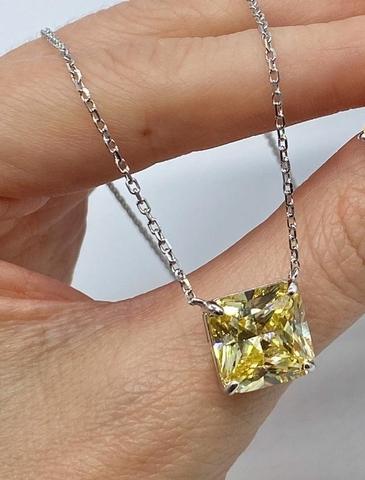 30131- Колье из серебра в квадратной подвеской из желтого кварца