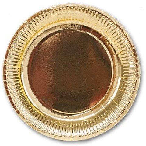 Тарелка фольгирован золотая 23см 6шт/G