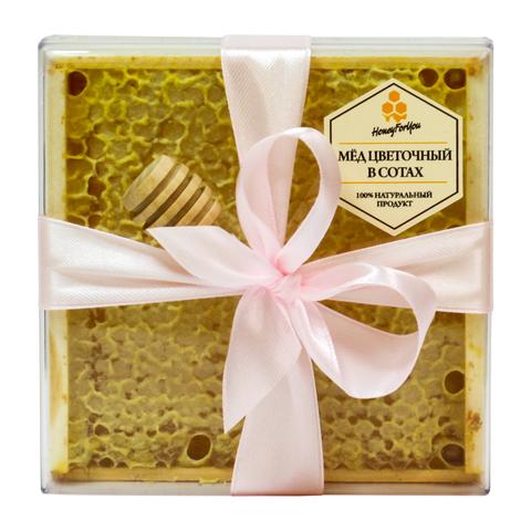 Натуральный мед в сотах HoneyForYou в подарочном оформлении с розовой лентой, 350 г