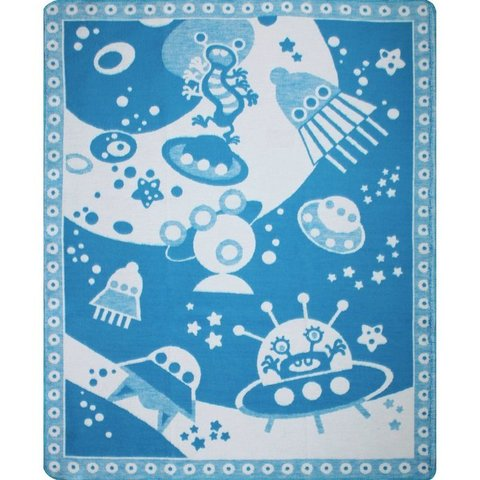 Ермолино. Одеяло Байковое жаккардовое 100х140 см Космос, синее