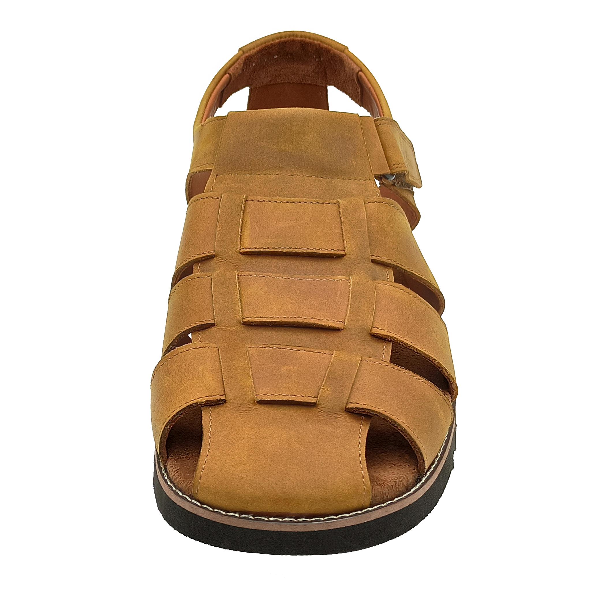 550210 сандалии мужские охра больших размеров марки Делфино