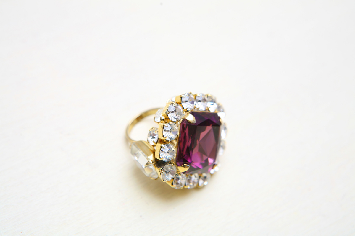 Magnificent large ring with amethyst and transparent crystals by Lawrence Vrba