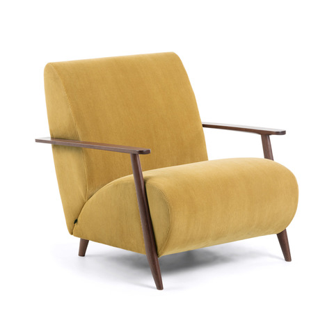 Кресло Marthan горчичное подлокотники венге