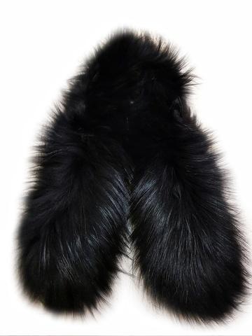 Опушка меховая на капюшон из натурального меха енот 70 см. Чисто черная. арт.1031