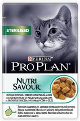Пауч Purina Pro Plan STERILISED, для стерилизованных кошек и кастрированных котов, с океанической рыбой в желе
