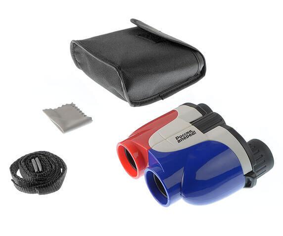 Комплект поставки бинокля для детей Veber 8x25 Patriot: чехол, салфетка, ремень