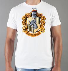 Футболка с принтом Гарри Поттер (Harry Potter/ Гриффиндор, Слизерин, Когтевран, Пуффендуй) белая 006