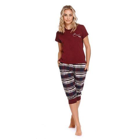 Бордовая пижама с клетчатыми бриджами