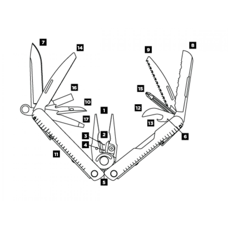 Мультитул Leatherman Rebar, 17 функций, нейлоновый чехол