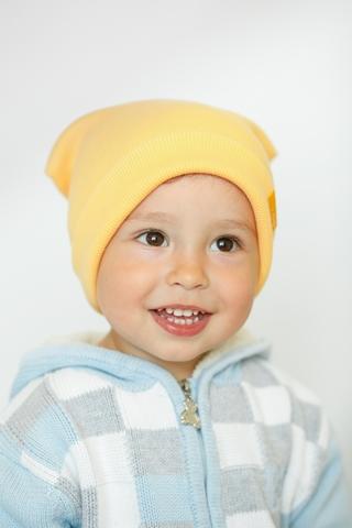 Детская шапка хлопковая в рубчик ванильно-желтая