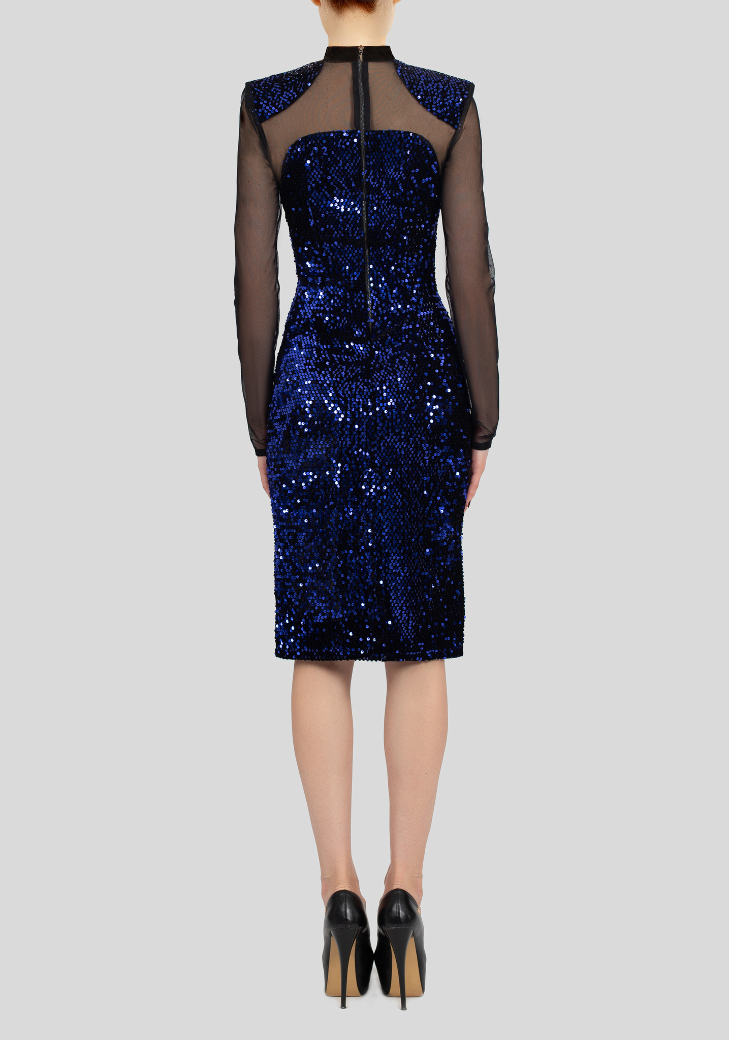 Платье синее миди  с пайетками и сеткой