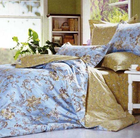 Сатиновое постельное бельё  1,5 спальное Сайлид  В-144