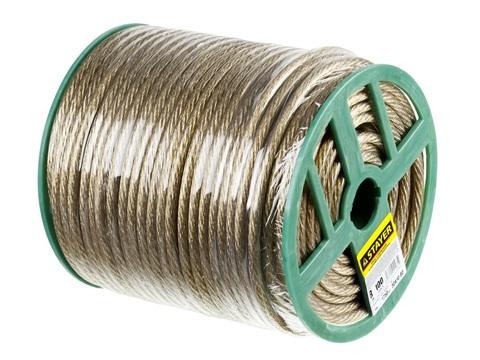 Трос стальной в полимерной оболочке, d=8,0 мм, L=100 м, STAYER