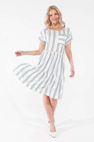 Фото расклешенное белое платье в полоску с коротким рукавом - Платье З456-134 (1)