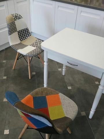 Интерьерный кухонный стул Eamеs Patchwork Gold / Ткань