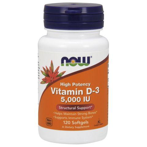 Высокоактивный витамин D-3, 125 мкг (5000 МЕ), 120 капсул Now Foods