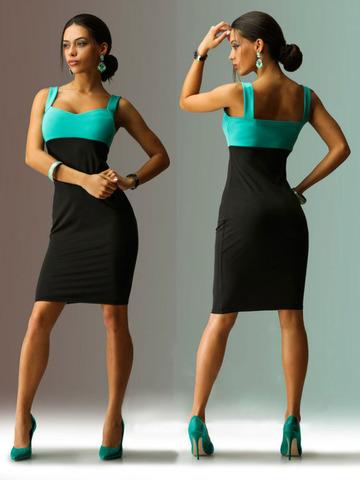 Платье-чулок, с лифом темно-мятного цвета