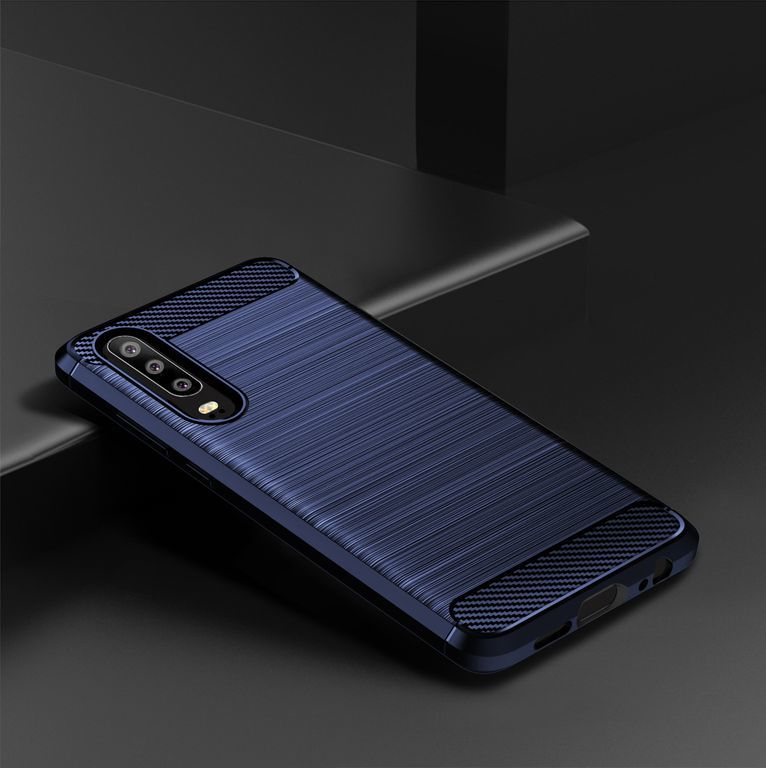 Чехол Huawei P30 цвет Blue (синий), серия Carbon, Caseport