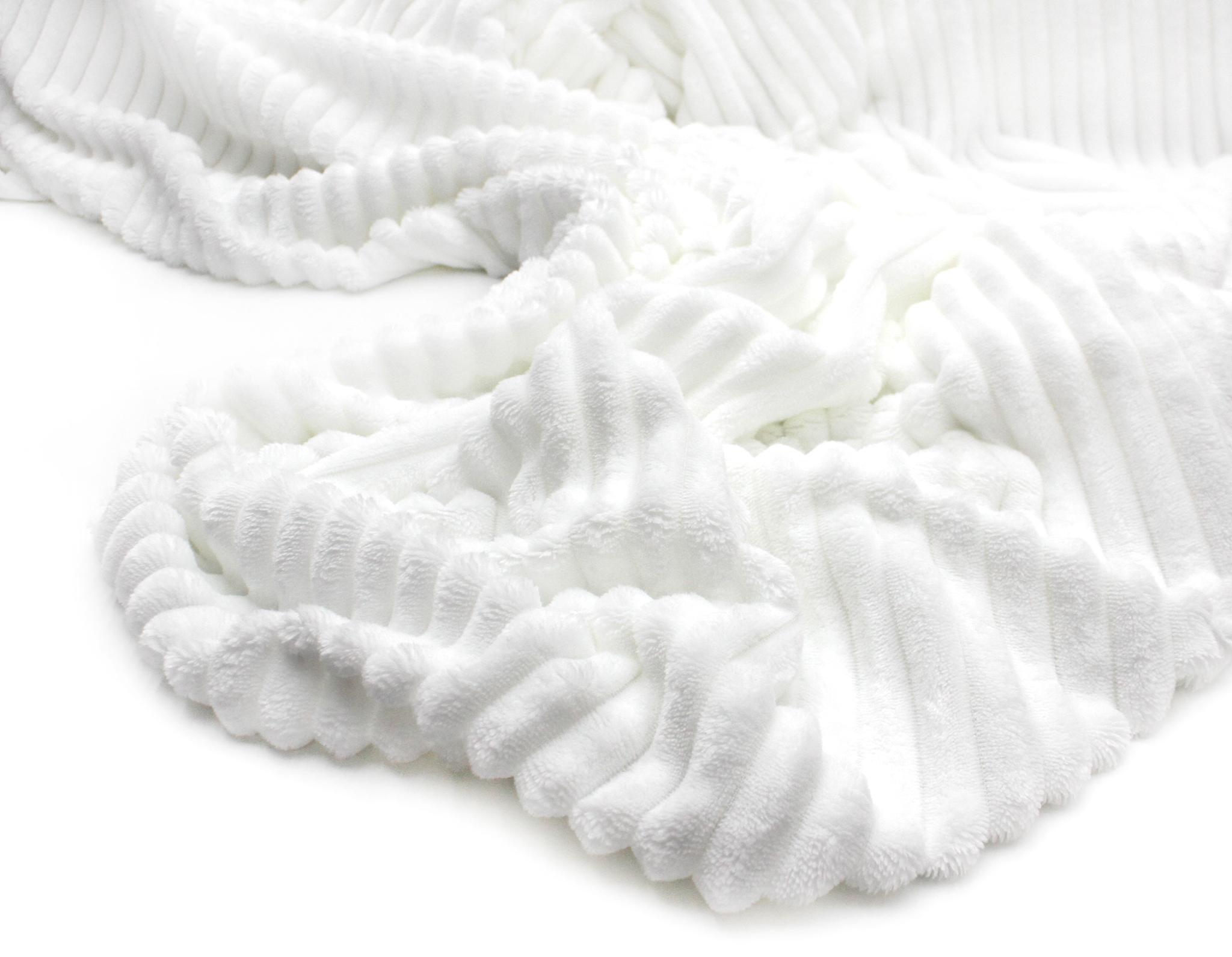 Плюш полоска Белый