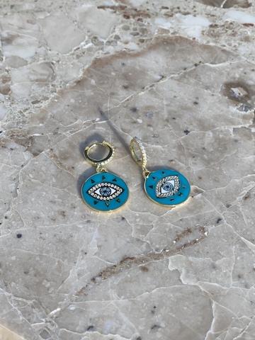 Серьги Око из позолоченного серебра, голубая эмаль