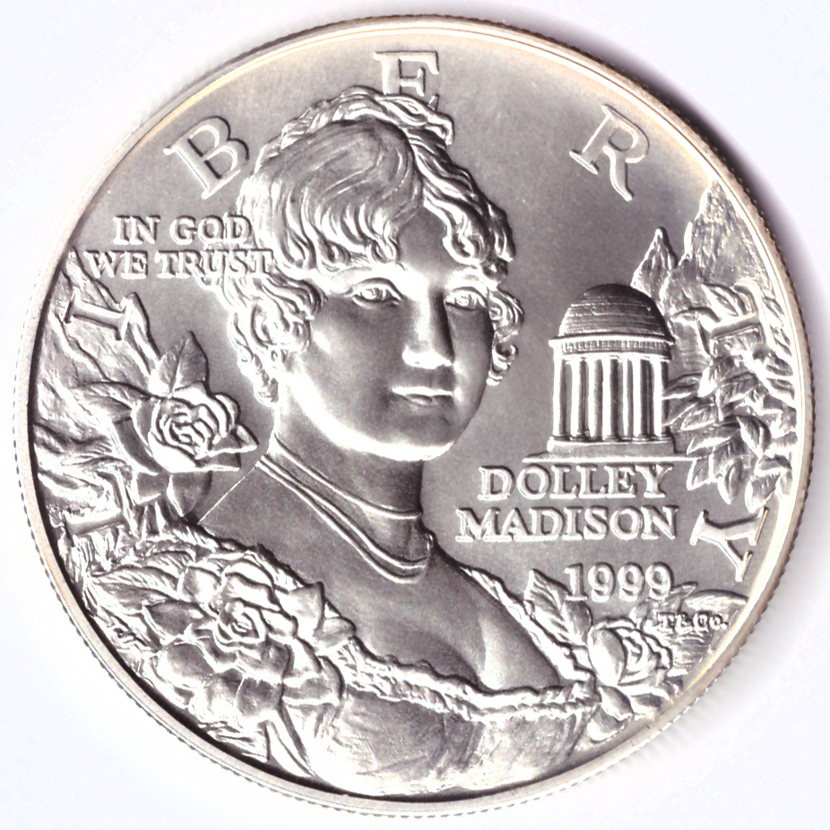 1 доллар 1999 (P) (Долли Мэдисон. Дом Монпелье) UNC серебро
