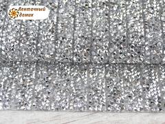 Полоса со стразами на силиконовой основе серебряная
